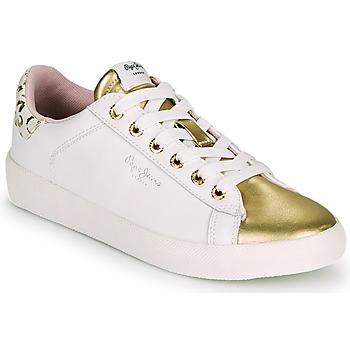 Cipők Női Rövid szárú edzőcipők Pepe jeans KIOTO FIRE Fehér / Arany
