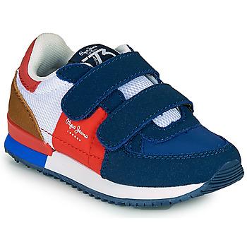 Cipők Fiú Rövid szárú edzőcipők Pepe jeans SYDNEY TREND BOY KIDS SS21 Kék / Piros