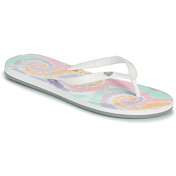 Cipők Női Lábujjközös papucsok Roxy TAHITI VII Fehér / Rózsaszín