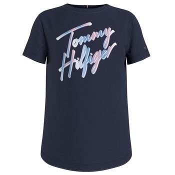 Ruhák Lány Rövid ujjú pólók Tommy Hilfiger KG0KG05870-C87 Tengerész