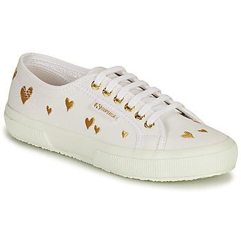 Cipők Női Rövid szárú edzőcipők Superga 2750 HEARTS EMBRODERY Fehér / Arany