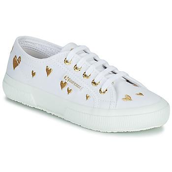 Cipők Gyerek Rövid szárú edzőcipők Superga 2750 COTJEMBROIDERY LAMEHEARTS Fehér / Arany