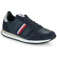 Cipők Férfi Rövid szárú edzőcipők Tommy Hilfiger RUNNER LO LEATHER STRIPES Tengerész