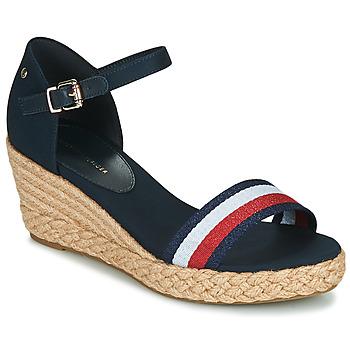 Cipők Női Szandálok / Saruk Tommy Hilfiger SHIMMERY RIBBON MID WEDGE SANDAL Tengerész
