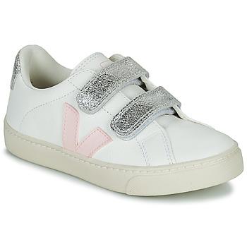 Cipők Lány Rövid szárú edzőcipők Veja SMALL ESPLAR VELCRO Fehér / Arany