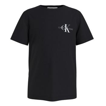 Ruhák Fiú Rövid ujjú pólók Calvin Klein Jeans CHEST MONOGRAM TOP Fekete