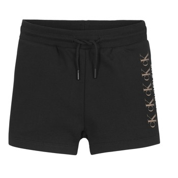 Ruhák Lány Rövidnadrágok Calvin Klein Jeans CK REPEAT FOIL KNIT SHORTS Fekete