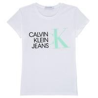 Ruhák Lány Rövid ujjú pólók Calvin Klein Jeans HYBRID LOGO SLIM T-SHIRT Fehér