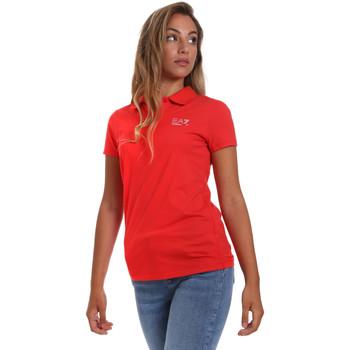 Ruhák Női Rövid ujjú galléros pólók Ea7 Emporio Armani 3HTF57 TJ29Z Piros