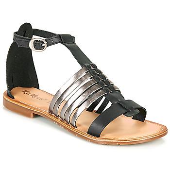 Cipők Női Szandálok / Saruk Kickers ETIKET Fekete  / Ezüst