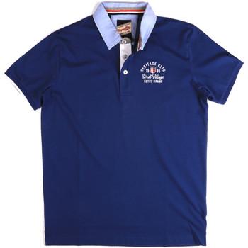 Ruhák Férfi Rövid ujjú galléros pólók Key Up 2G85R 0001 Kék