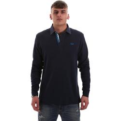 Ruhák Férfi Hosszú ujjú galléros pólók La Martina OMP007 JS169 Kék