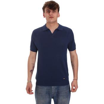 Ruhák Férfi Hosszú ujjú galléros pólók Gaudi 011BU53010 Kék