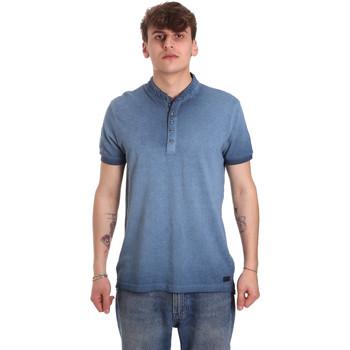 Ruhák Férfi Rövid ujjú galléros pólók Gaudi 011BU64018 Kék