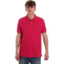 Ruhák Férfi Rövid ujjú galléros pólók U.S Polo Assn. 55957 41029 Rózsaszín