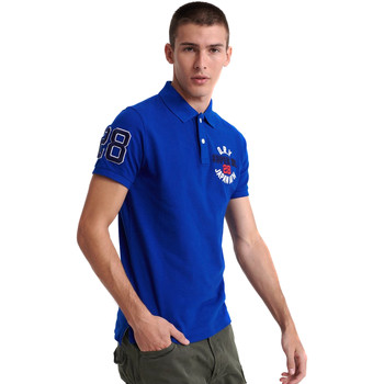 Ruhák Férfi Rövid ujjú galléros pólók Superdry M1110008A Kék