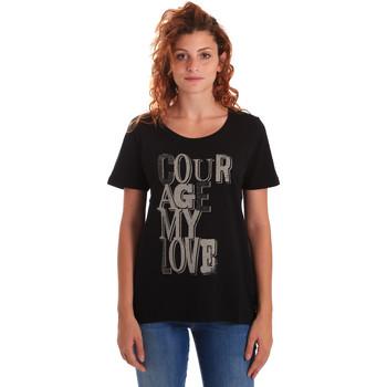 Ruhák Női Rövid ujjú pólók Key Up 5Z19S 0001 Fekete
