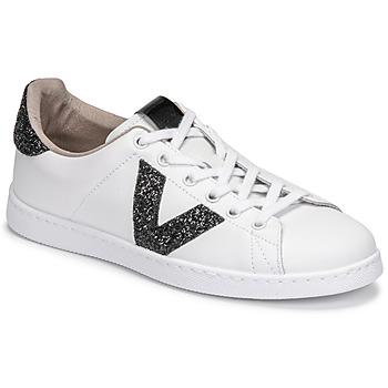 Cipők Női Rövid szárú edzőcipők Victoria TENIS PIEL GLITTER Fehér / Fekete