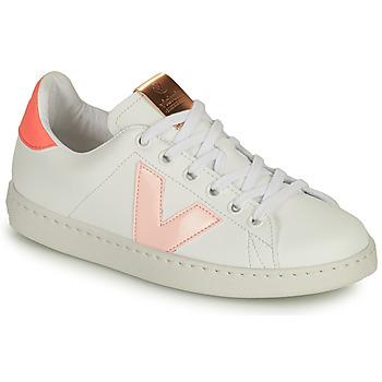 Cipők Lány Rövid szárú edzőcipők Victoria TENIS VEGANA CONTRASTE Fehér / Rózsaszín