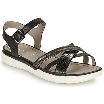 Cipők Női Szandálok / Saruk Geox D SANDAL HIVER A Fekete  / Ezüst