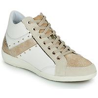 Cipők Női Magas szárú edzőcipők Geox D MYRIA G Fehér / Bézs
