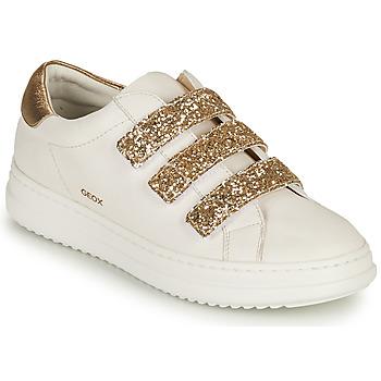 Cipők Női Rövid szárú edzőcipők Geox D PONTOISE C Fehér / Arany