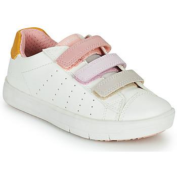 Cipők Lány Rövid szárú edzőcipők Geox SILENEX GIRL Fehér / Rózsaszín / Bézs