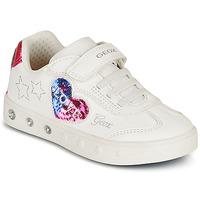Cipők Lány Rövid szárú edzőcipők Geox SKYLIN GIRL Fehér / Fekete  / Rózsaszín