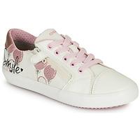 Cipők Lány Rövid szárú edzőcipők Geox GISLI GIRL Fehér / Rózsaszín
