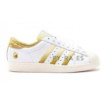 Cipők Magas szárú edzőcipők adidas Originals Bape x adidas Superstar Off-White/Footwear White-Gold Metallic