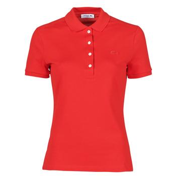 Ruhák Női Rövid ujjú galléros pólók Lacoste POLO SLIM FIT Piros