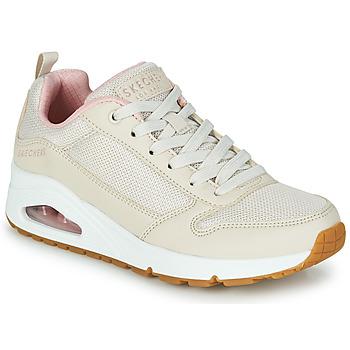 Cipők Női Rövid szárú edzőcipők Skechers UNO INSIDE MATTERS Bézs / Rózsaszín