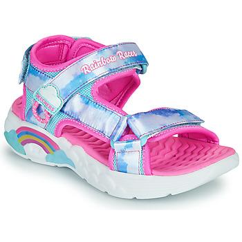 Cipők Lány Sportszandálok Skechers RAINBOW RACER Ezüst / Rózsaszín
