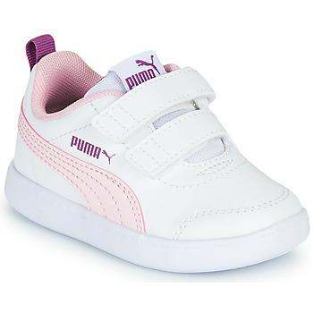 Cipők Lány Rövid szárú edzőcipők Puma COURTFLEX INF Fehér / Rózsaszín