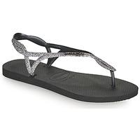 Cipők Női Lábujjközös papucsok Havaianas LUNA PREMIUM II Fekete  / Szürke