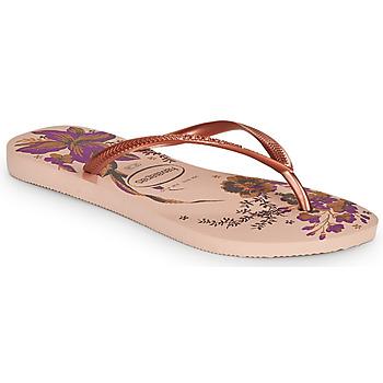 Cipők Női Lábujjközös papucsok Havaianas SLIM ORGANIC Rózsaszín