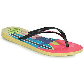 Cipők Női Lábujjközös papucsok Havaianas SLIM STYLE MIX Citromsárga