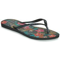 Cipők Női Lábujjközös papucsok Havaianas SLIM TROPICAL Fekete  / Szürke