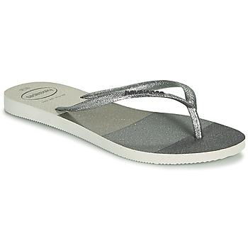 Cipők Női Lábujjközös papucsok Havaianas SLIM PALETTE GLOW Fehér