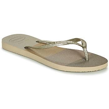 Cipők Női Lábujjközös papucsok Havaianas SLIM PALETTE GLOW Bézs
