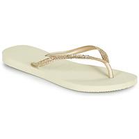 Cipők Női Lábujjközös papucsok Havaianas SLIM GLITTER II Bézs