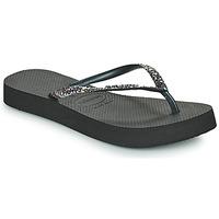 Cipők Női Lábujjközös papucsok Havaianas SLIM FLATFORM GLITTER Fekete