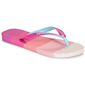 Cipők Női Lábujjközös papucsok Havaianas TOP LOGOMANIA MULTICOLOR Rózsaszín
