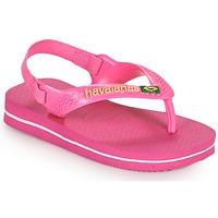 Cipők Lány Lábujjközös papucsok Havaianas BABY BRASIL LOGO II Rózsaszín