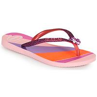 Cipők Lány Lábujjközös papucsok Havaianas KIDS SLIM GLITTER II Rózsaszín