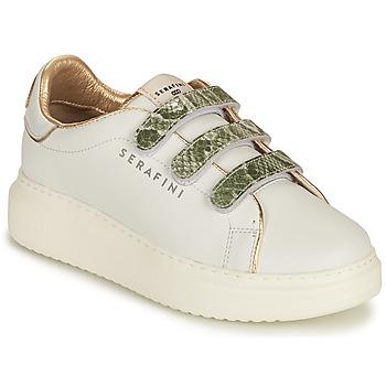 Cipők Női Rövid szárú edzőcipők Serafini CONNORS Fehér / Arany / Zöld