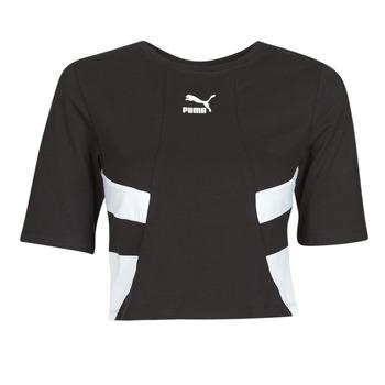 Ruhák Női Rövid ujjú pólók Puma RETRO FROPnTOP Fekete