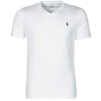 Ruhák Férfi Rövid ujjú pólók Polo Ralph Lauren T-SHIRT AJUSTE COL V EN COTON LOGO PONY PLAYER Fehér
