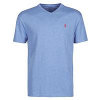 Ruhák Férfi Rövid ujjú pólók Polo Ralph Lauren T-SHIRT AJUSTE COL V EN COTON LOGO PONY PLAYER Kék