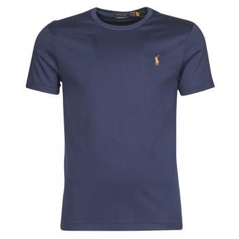Ruhák Férfi Rövid ujjú pólók Polo Ralph Lauren T-SHIRT AJUSTE COL ROND EN PIMA COTON LOGO PONY PLAYER MULTICOLO Kék